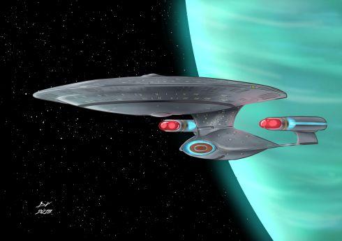 USS Enterprise NCC-1701-D Fan art, showing the Starship Enterprise in orbit around a planet.