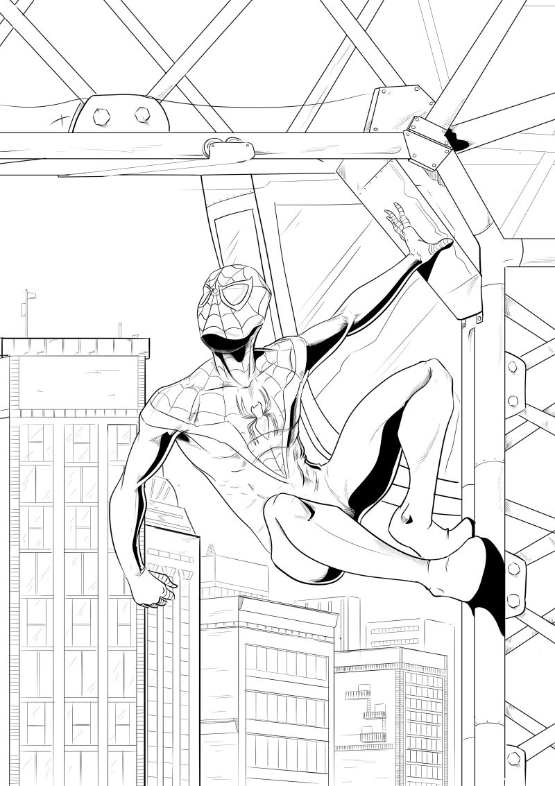 spider-man fan art, miles morales, inks