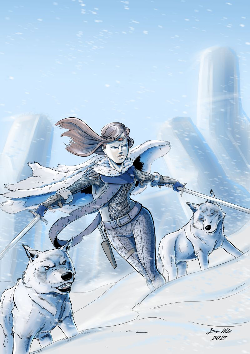 Dungeons and Dragons fan art - the wolf queen; a woman with two swords and two wolves