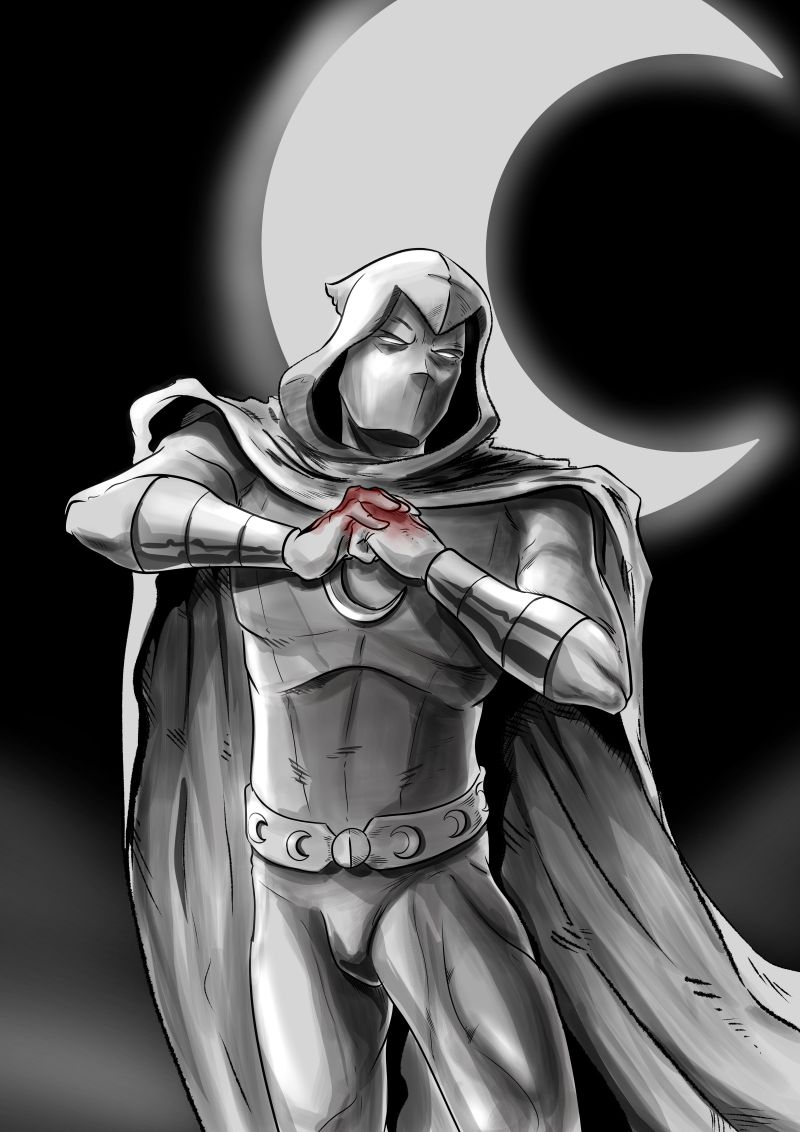 Moon Knight fan art showing Moon Knight with bloody fists in front of a crescent moon.