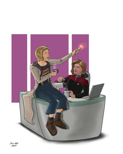 Fan art showing the 13th Doctor (from Doctor Who) and Captain Kathryn Janeway (from Star Trek: Voyager) hanging out in Janeway's ready room.