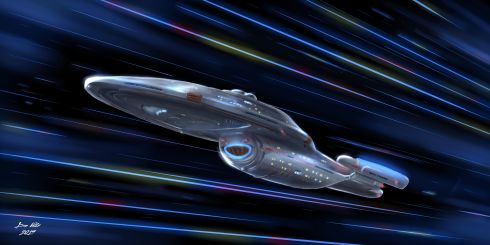 """""""USS Voyager at Warp"""" - a Star Trek Voyager fan art piece showing the USS Voyager moving through the stars at high warp."""