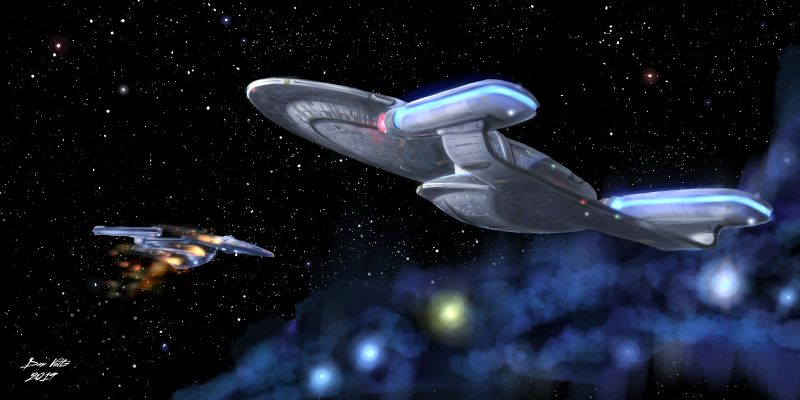 The Galaxy Class USS Enterprise-D rescues an on-fire Excelsior-class starship. Star Trek: The Next Generation fan art. USS Enterprise-D illustration.