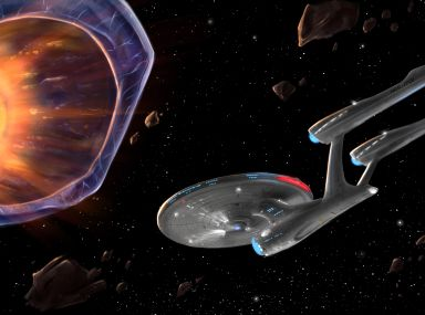 "Star Trek Beyond USS Enterprise Design next to the Planet Killer from ""Doomsday Machine,"" a Star Trek: The Original Series episode."