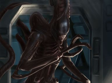 Alien fan art showing the Xenomorph (tall and dark) entering a dark, blue tinted room. Digital art of the alien.