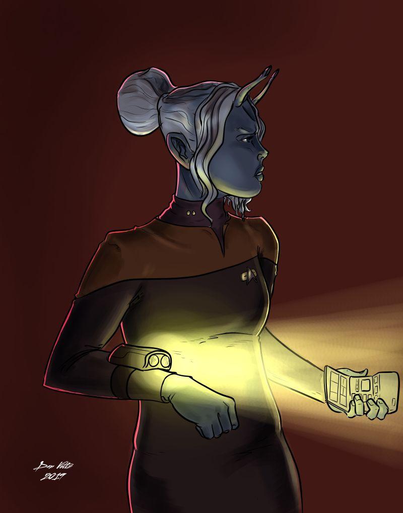 Star Trek fan art showing an Andorian in USS Voyager uniform.