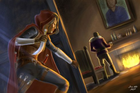 RPG game art that shows a rogue class character sneaking up on a man next to a fireplace. Dungeons and Dragons style art.