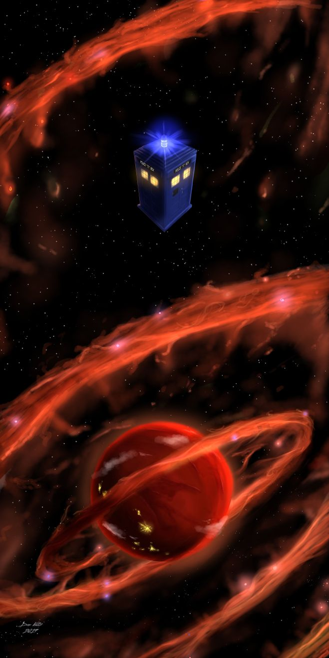 TARDIS fan art; this Doctor Who TARDIS fan art depicts the TARDIS hurtling towards a red planet with nebulous orange rings swirling out from around it.