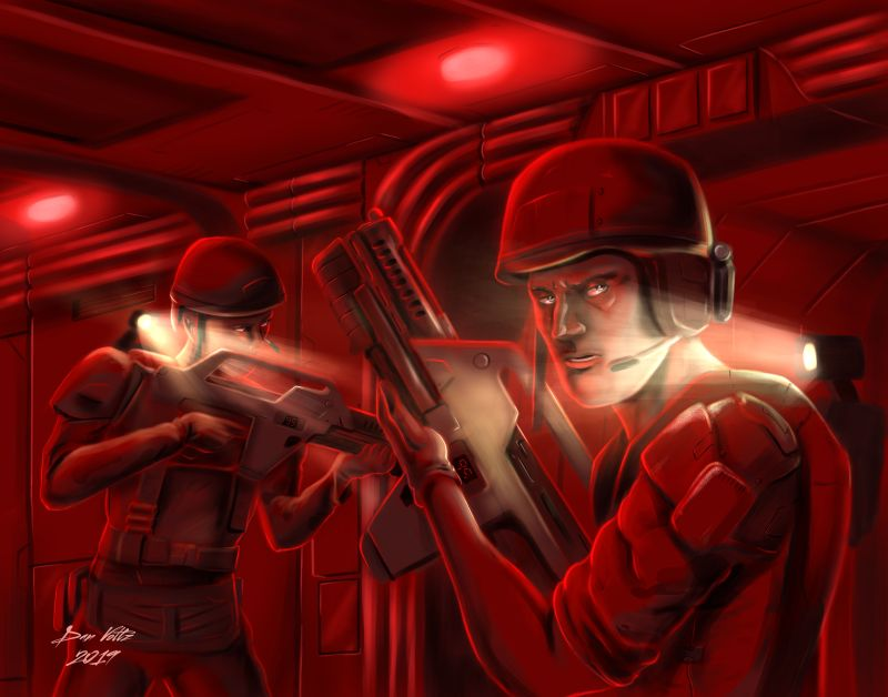 Two colonial marines (as seen in the film Aliens) look through a science fiction corridor. Aliens fan art, or colonial marines fan art, depending how you look at it.