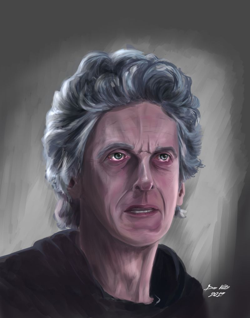 Fan art of the 12th Doctor, as played by Peter Capaldi. Digital art that looks like oil painting. Doctor Who fan art.