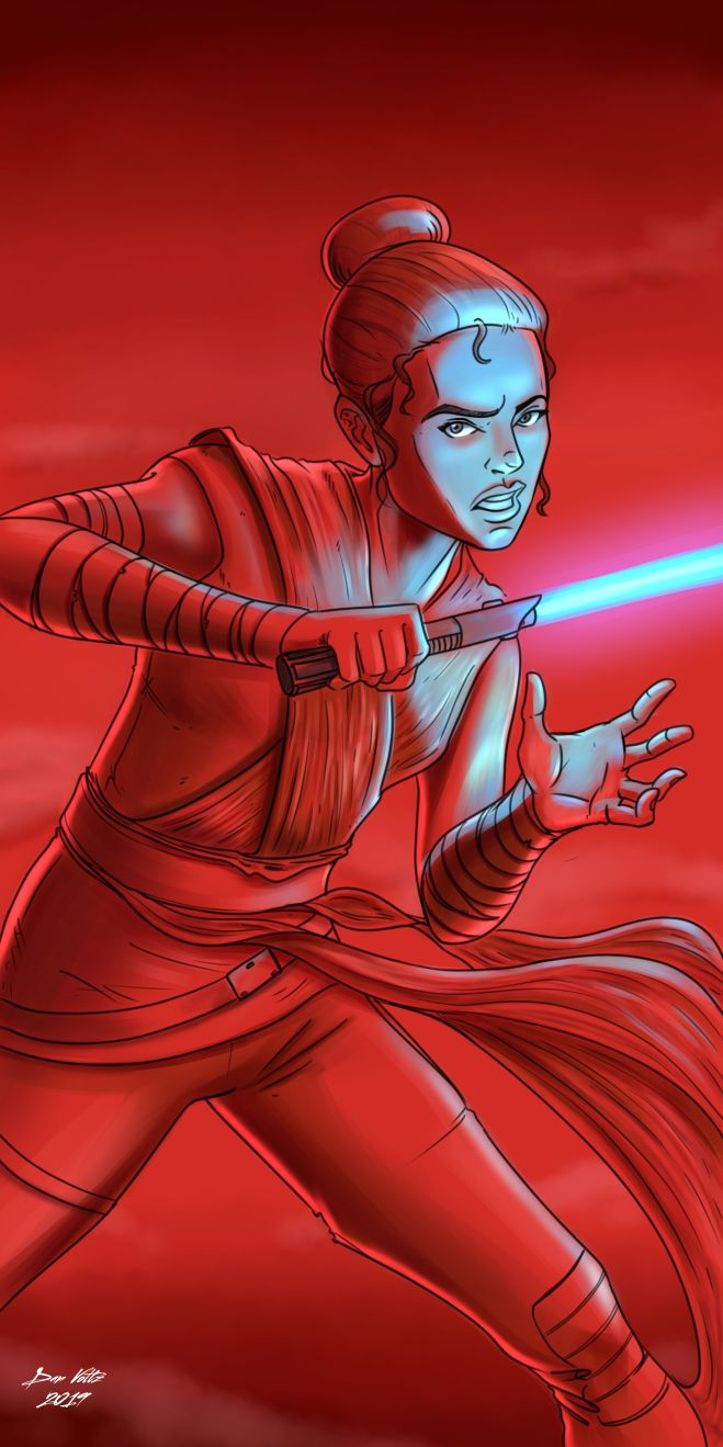 Star Wars Rey fan art featuring Rey holding a blue lightsaber against a red background.