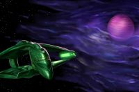 A D'Deridex class Romulan Warbird circles a planet. The planet is hidden in a nebula, which takes up most of the frame. The Romulan warship is on the left side of the screen.