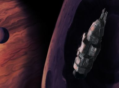 The spaceship Rocinante in orbit around one of Jupiter's moons (with Jupiter visible in the background). The Expanse fan art.