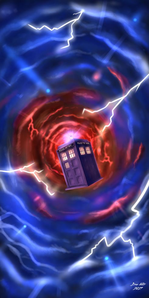 Fan art of the TARDIS flying through the time vortex, surrounded by lightning. Doctor Who art.