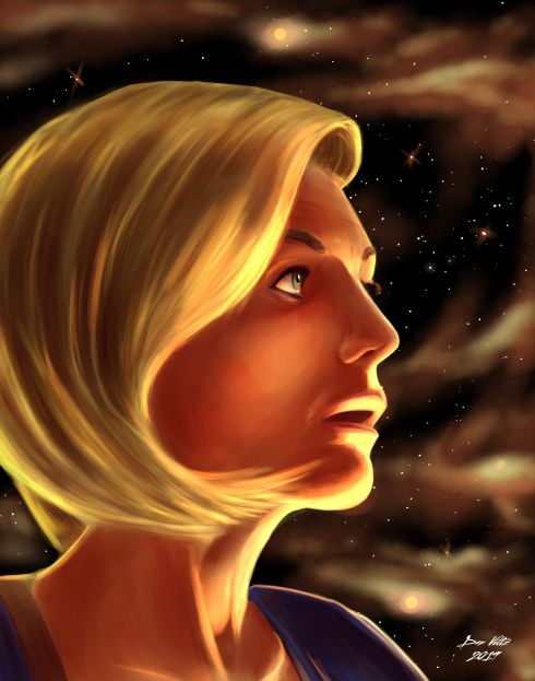 Doctor Who portrait art featuring the 13th Doctor, as played by Jodie Whittaker.