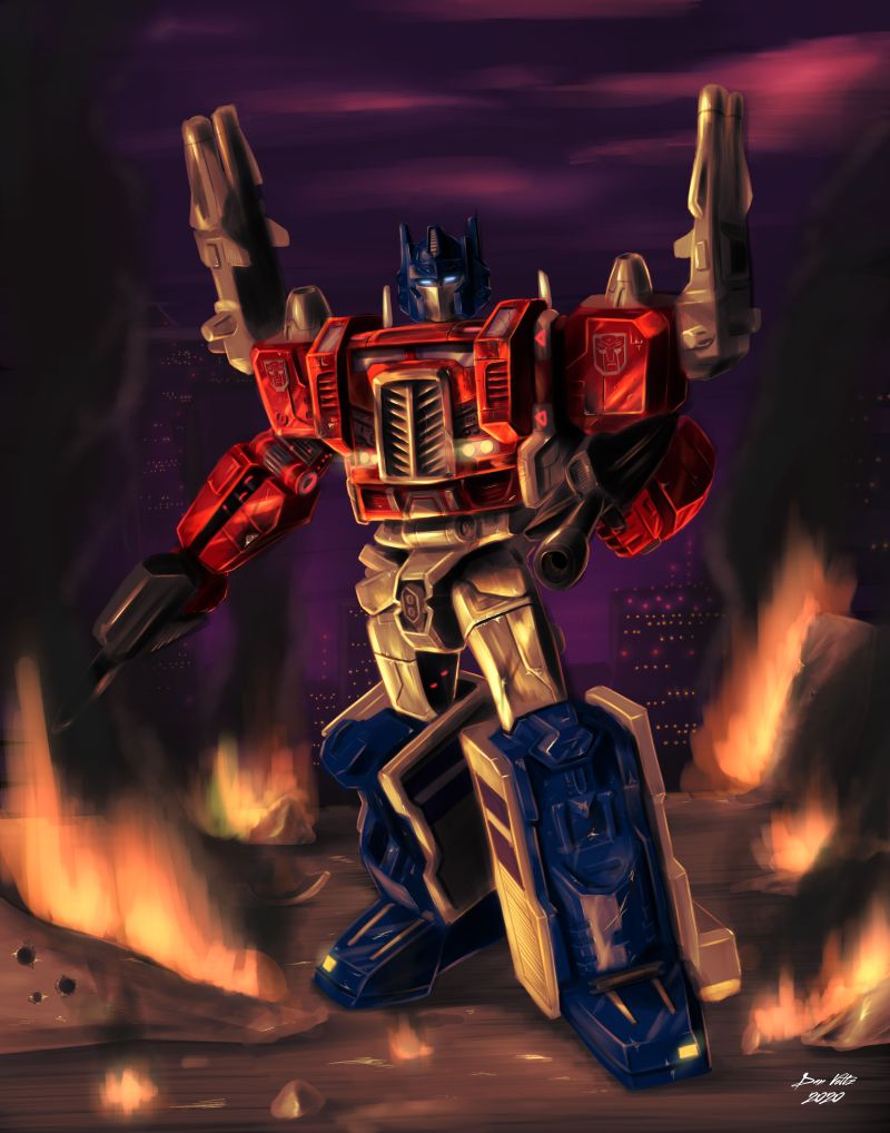 Fan art depicting Powermaster Optimus Prime, leader of the autobots, in a fiery battle scene.