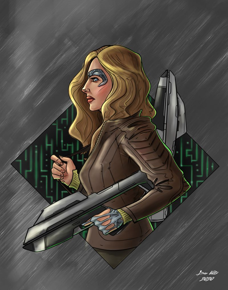 Seven of Nine fan art, featuring Seven standing in profile against a Borg-like background. Seven holds two phaser rifles.