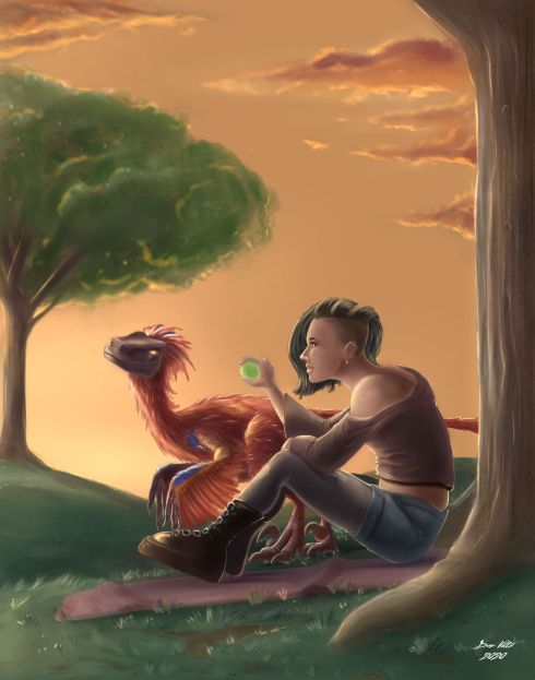 a picture of a girl and her velociraptor best friend
