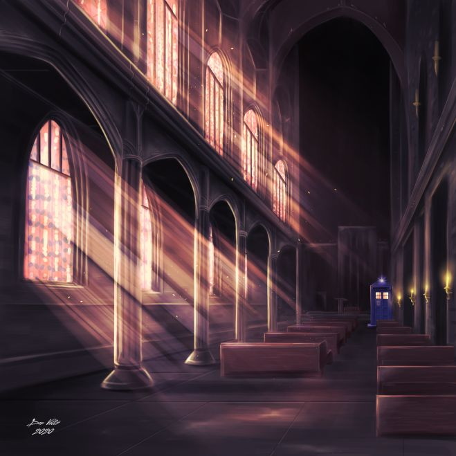 Doctor Who fan art featuring the Doctor's police box TARDIS in a cathedral.