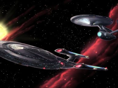 Star Trek fan art featuring the USS Enterprise NCC-1701-E and art of the USS Enterprise NCC-1701-A.