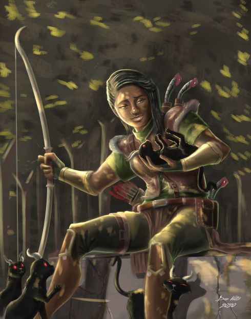 A Dungeons and Dragons human Ranger sits in the sunlight and plays with kittens.