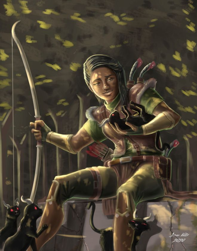 A human ranger, inspired by Dungeons and Dragons, plays with kittens in a forest.