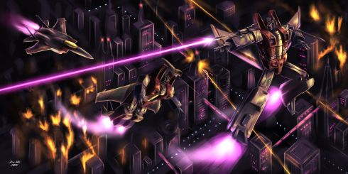 This piece of Transformers fan art showcases Starscream transforming over a Cybertronian city and blasting his null ray.