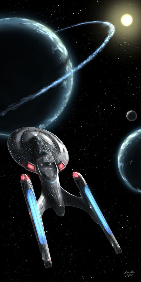 Art of the starship USS Enterprise-E, as the Star Trek ship enters a solar system featuring two planets.