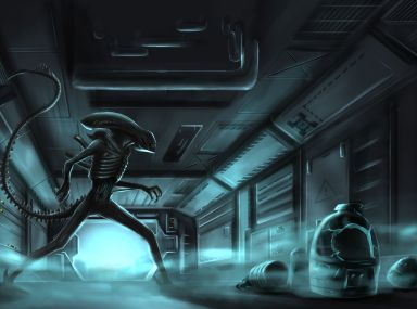 Alien fan art depicting a Xenomorph prowling a Nostromo corridor.