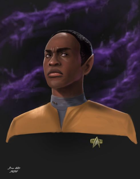 An artistic portrait of Tuvok, as played by Tim Russ, on Star Trek: Voyager.