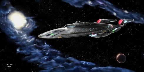 Star Trek fan art of the Starship USS Endeavour, the setting for a Star Trek Adventures actual play podcast. The Endeavour glides through space, a nebula on the left side, and a small planetoid on the right side.