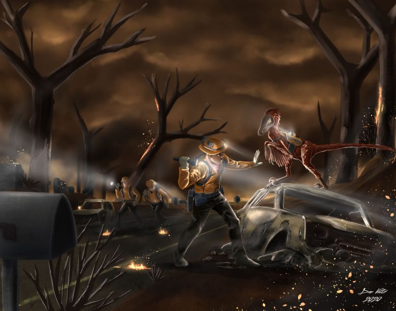 Painting of a scene with dinosaurs: A trained velociraptor on a wildfire search and rescue team helps firefighters search for survivors.
