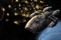 Fan art of the Battlestar Galactica taking flak. Painting of Battlestar Galactica