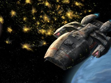 Fan art of the Battlestar Galactica taking flak. Painting of Battlestar Galactica