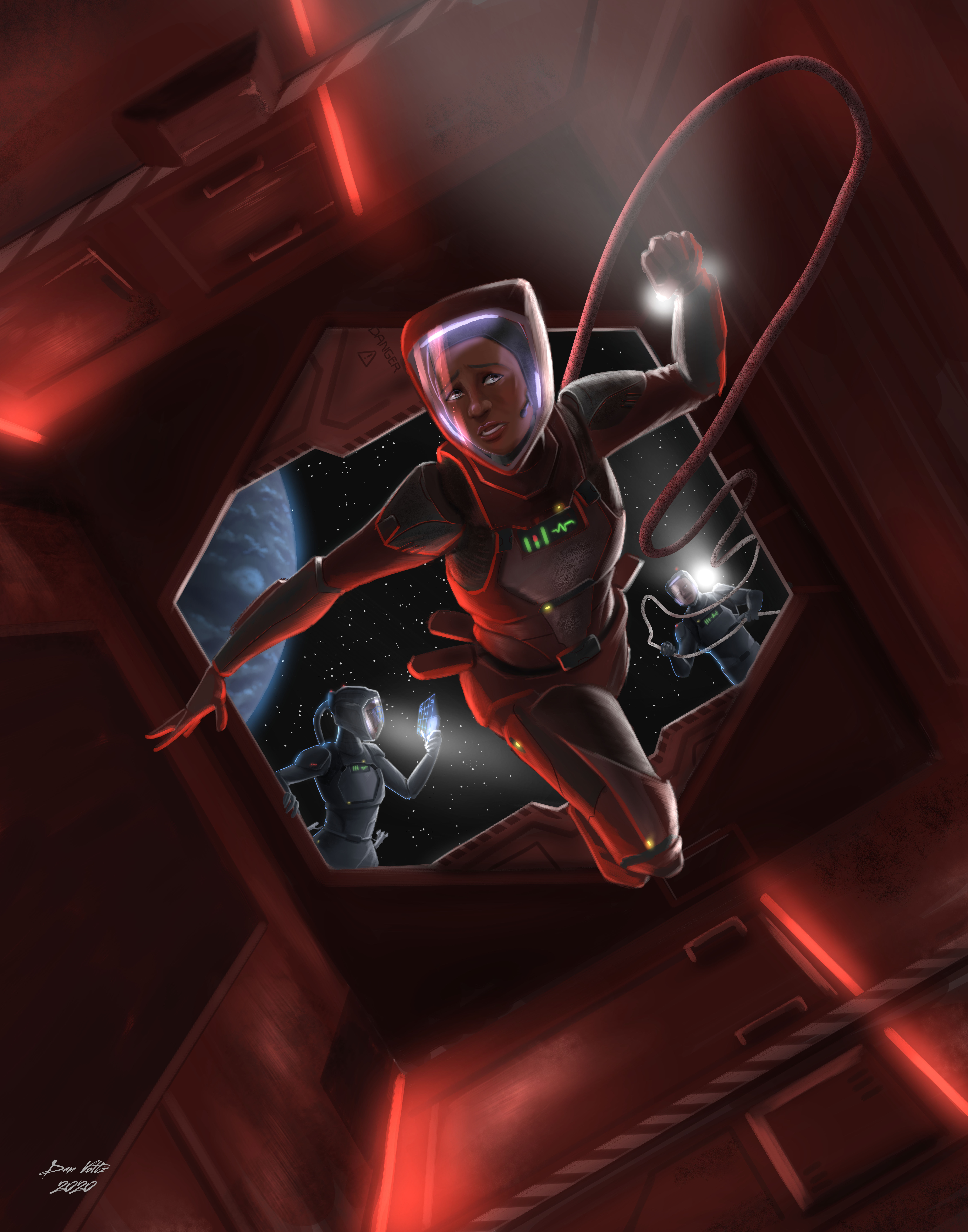 A science fiction painting showing an astronaut entering an ominous airlock, illuminated by flashlights.
