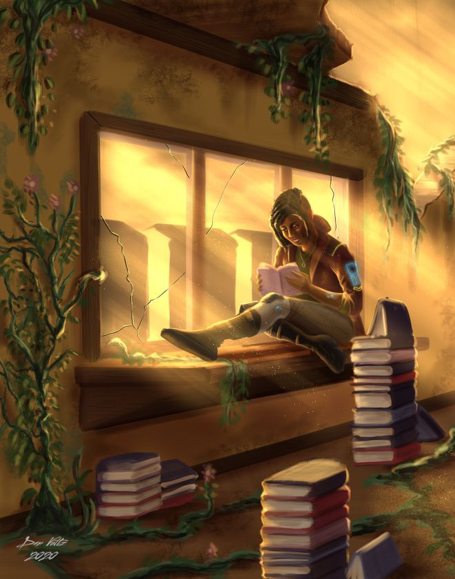 A woman reads books in a post apocalyptic setting.