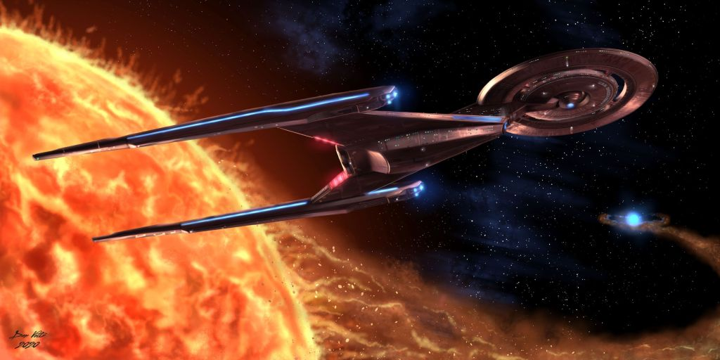 The starship USS Discovery, as featured on Star Trek: Discovery, orbits a bright orange star. The Discovery is brightly lit in a cinematic-looking composition.
