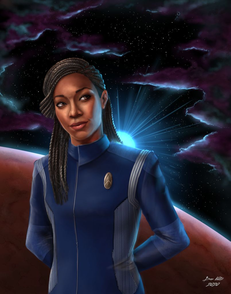 Commander Michael Burnham, as depicted in Star Trek Discovery, stands in front of a starfield. There's a friendly expression on her face as she stands confidently, hands behind her back.