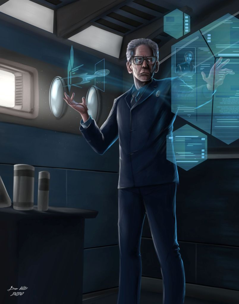A painting of Kovich, as portrayed on Star Trek: Discovery by David Cronenberg, standing in the science lab of the USS Discovery.
