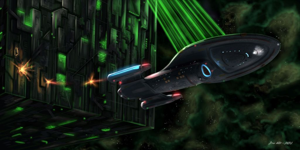 Star Trek: Voyager fan painting depicting the starship USS Voyager trapped in the tractor beam of a Borg Cube. Voyager fires photon torpedoes in the hopes of making an escape.