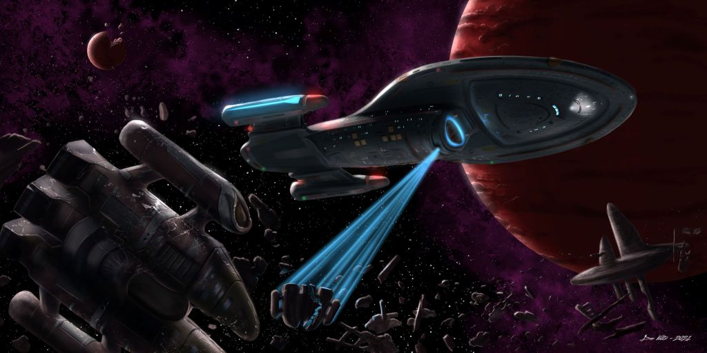 A painting of the starship USS Voyager, as seen on Star Trek: Voyager. This intrepid-class starship uses its tractor beam to pull in Vaadwaur salvage, two red planets visible in the background.