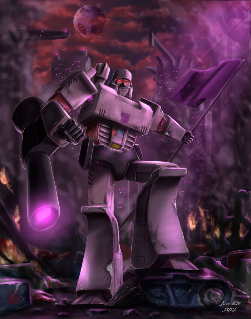 A painting of the Transformer known as Megatron, leader of the Decepticons. A ruined and smoky Cybertron can be seen in the background. Megatron holds a flag.