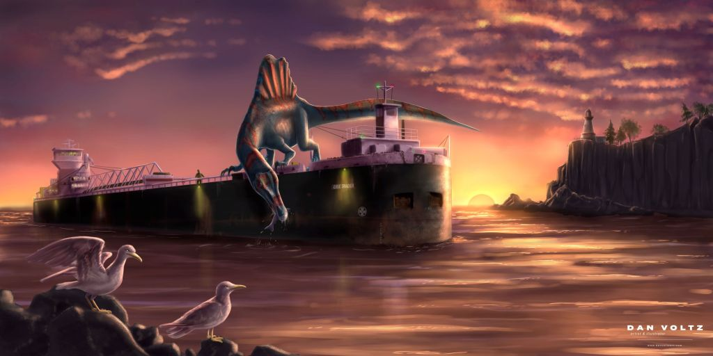 A painting of a large cargo ship traveling into a harbor. A huge spinosaurus sits on top of the cargo ship. The dinosaur dips its snout into the water, grabbing a fish. Two seagulls sit in the foreground, a lighthouse in the background.
