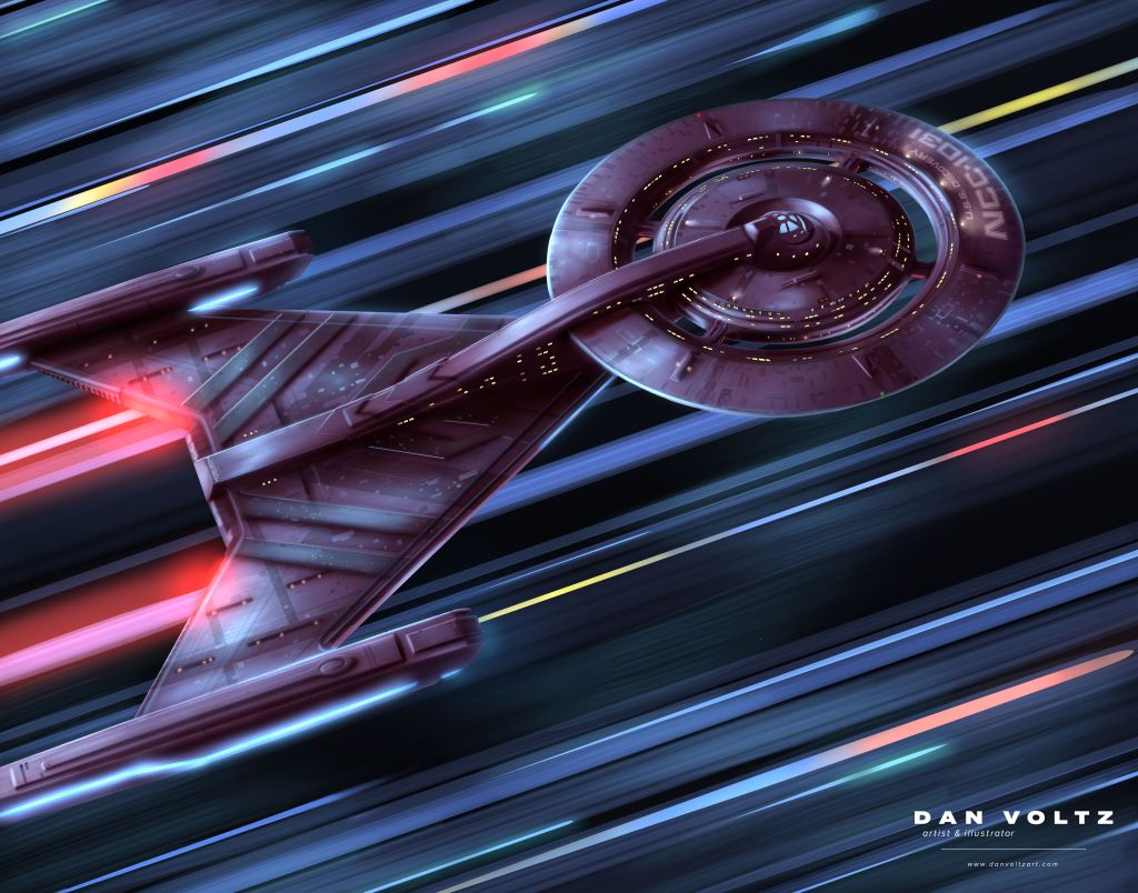 USS Discovery art featuring the Crossfield-class starship traveling through the galaxy at warp speed, stars whipping by as streaks of light.