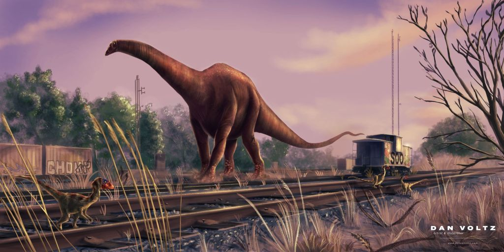 A painting of a diplodocus, wandering through a suburban train yard in the late afternoon light. Three compsagnathus dinosaurs scurry in the foreground.