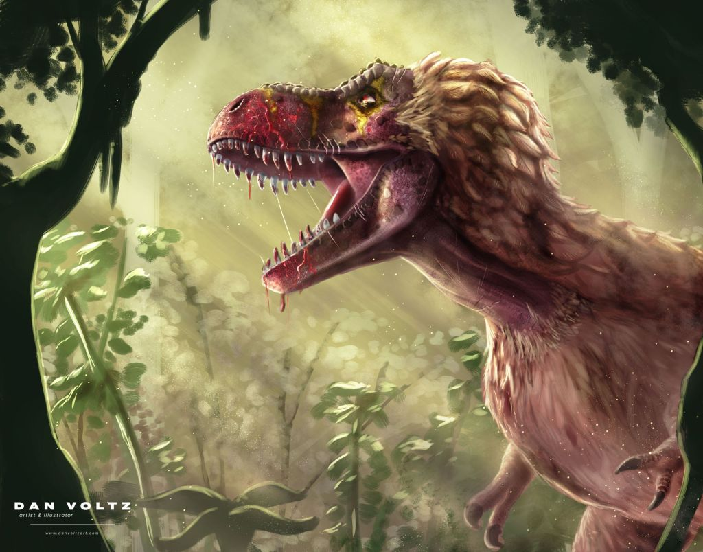 A tyrannosaurus rex roars in the middle of an yellow-tinged dense forest. The afternoon light filters in, making the blood on the tyrannosaur's maw glisten.