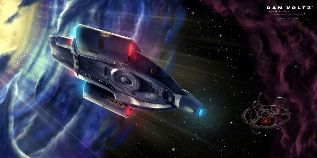 In this digital painting, the USS Defiant can be seen exiting the blue Bajoran Wormhole. Space station Deep Space Nine can be seen in the background, in front of a hazy purple nebula.