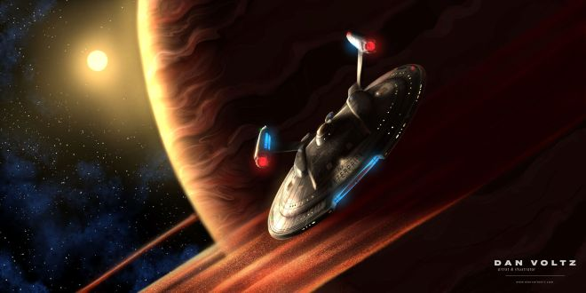 A digital painting of the NX-class Enterprise NX-01 (as seen on Star Trek: Enterprise). Here, the Enterprise moves away from an orange ringed planet, a bright yellow star in the background.